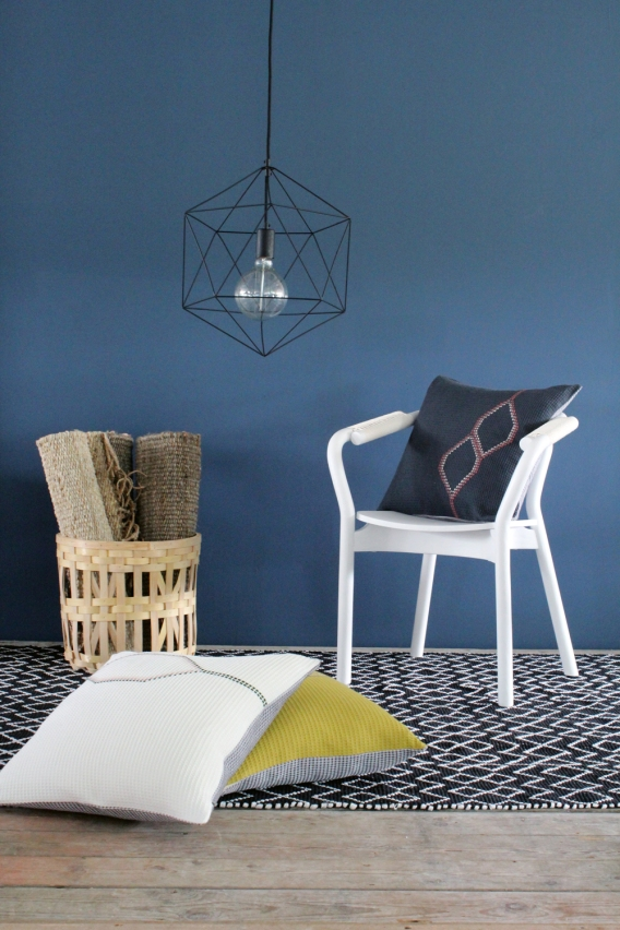 Charcoal Hexagon Waffle Cushion 50 x 50