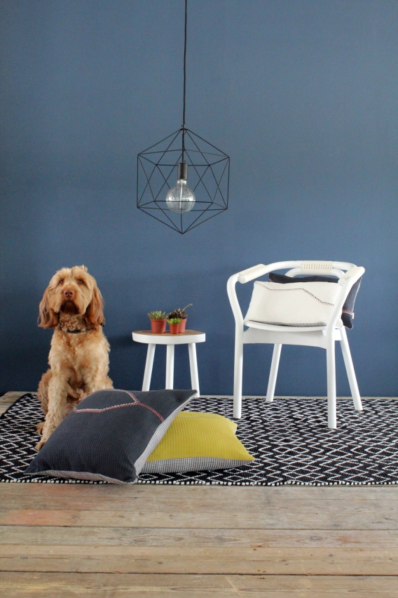 White Hex waffle cushion 50 x 30 (plus mabel)