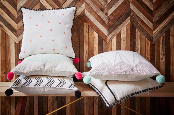 Tiny Triangles Cushions with Tiny Poms